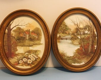 Vintage 1983, Homco Framed Prints, Behind Glass