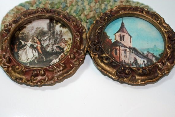 """Vintage Framed Pictures, Approximately 5"""" in Diameter"""