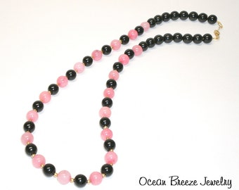 "Dark Pink Malaysian Jade with Black Agate Bead Necklace  -  ""JADED PINK"""
