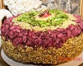 Vegan Pistachio chocolate-vanilla cake, love, animal free cruelty,no eggs,no dairy.