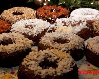 Vegan Gluten free Chocolate Coconut Donuts,Natural, Healthy,Gluten Free ingredients,Love,Wedding,Birthday.