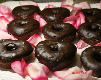 Vegan Gluten free Chocolate Heart donuts, Natural,Healthy,Gluten Free ingredients,dessert,gift,wedding,birthday.
