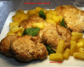 Vegan Soy Nuggets with Roasted Pineapple, Natural and Healthy ingredients, Love and compassion, birthday.