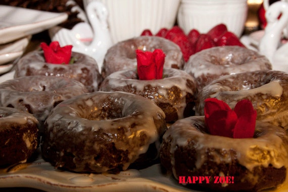 Vegan Gluten free plain chocolate  Donuts with plain glaze,  love and compassion,natural,healthy,gluten free ingredients,birthday,wedding.