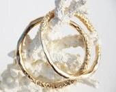 Gold Dipped Organic Hammered Bangle Bracelet Set