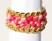 SALE Pink Woven Friendship Bracelet Chain Cuff with Crystal Pave