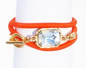 Neon Orange Wrap Bracelet With 18k Gold Dipped Closure