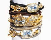 Bungee Wrap Bracelet With 18k Gold Dipped Crystal Closure