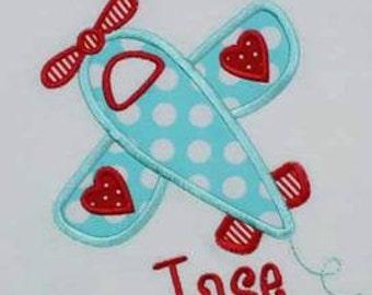 Valentine Airplane Machine Embroidery Applique Design