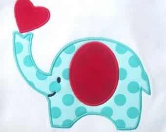 INSTANT DOWNLOAD Valentine Elephant Machine Embroidery Applique Design