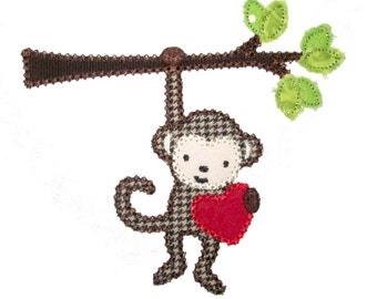 INSTANT DOWNLOAD Valentine Monkey and Heart  Machine Embroidery Applique Design