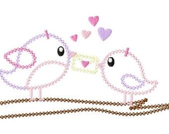 INSTANT DOWNLOAD Valentine Tweet Heart Birds Machine Embroidery Applique Design