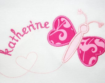 INSTANT DOWNLOAD  Valentine Butterfly Machine Embroidery Applique Design