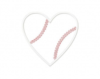 INSTANT DOWNLOAD Sweet Heart Baseball Machine Embroidery Applique Design- Satin Design