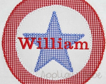 INSTANT DOWNLOAD Fourth of July Star Machine Embroidery Applique Design