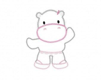 INSTANT DOWNLOAD Dancing Hippo Machine Embroidery Applique Design
