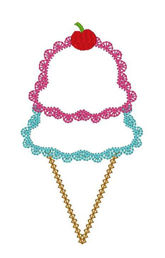 INSTANT DOWNLOAD Vintage Lacework Ice Cream Cone  Machine Embroidery Applique Design