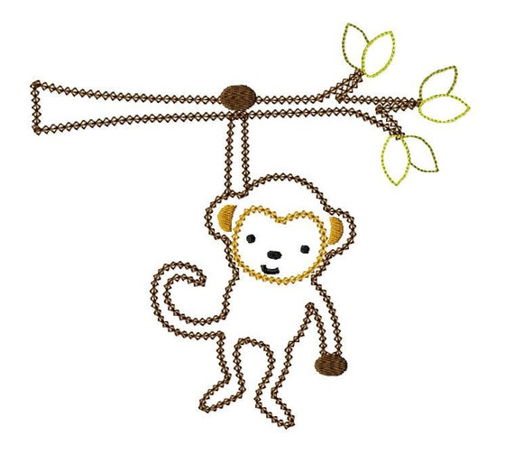 INSTANT DOWNLOAD Monkey on a Branch  Machine Embroidery Applique Design