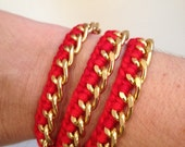 Small gold curb chain wrap bracelet with thread woven on one side