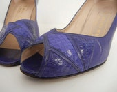 Vintage 1980s High Heels / 80s Purple Leather and Snake Skin Open Toe Bruno Magli Pumps Size 5 1/2
