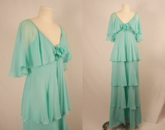Vintage 1970s Party Prom Maxi Dress / Pastel Mint Chiffon Tiered Gown with Capelet