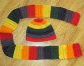 Handmade Crochet Rib-Knit Style Scarf and Beanie Sets