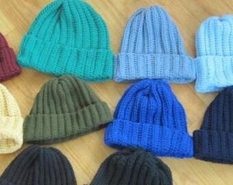 Handmade Crochet Rib-Knit Style Beanie