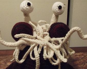 Handmade Crochet Flying Spaghetti Monster Hat