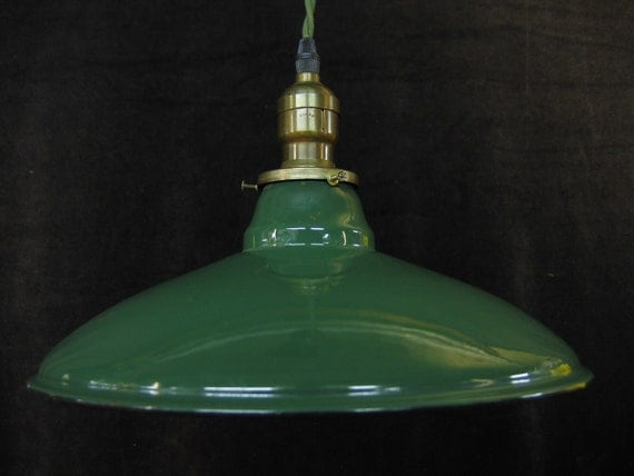 One of Two Green Enamel Tin Shade on Green Cloth Cord Gas Station Kitchen Light