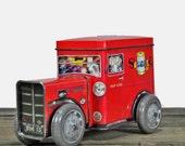 1985 Red Seweeze car shaped litho tin