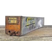 Antique Hardware Cabinet Single Drawer Industrial Wood and Galvanized Metal