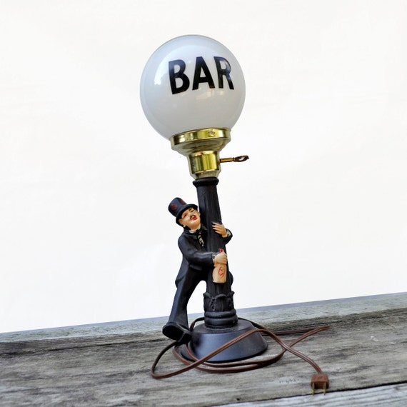Vintage Bar Lamp Drunk Bum On Lamp Post