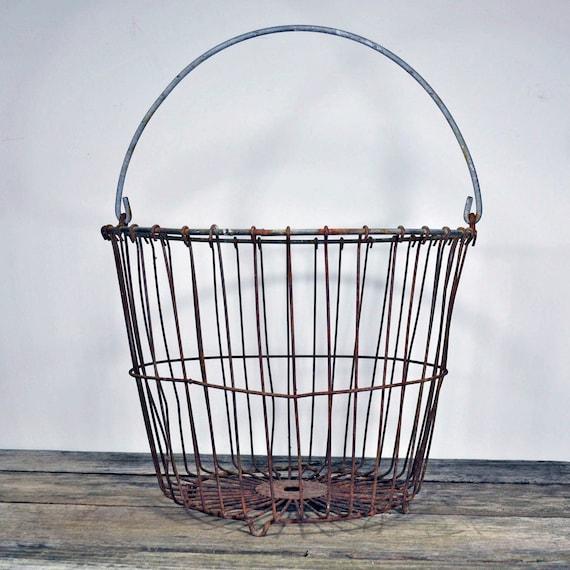 Vintage rustic metal egg basket