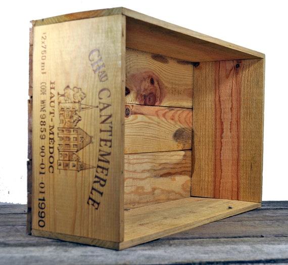 Wooden wine crate box chau catemerle sturdy for Uses for old wooden crates