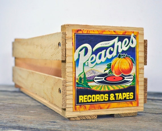 Napa Valley Media/Cassette Wooden Storage Crate with Peaches Records & Tapes 2