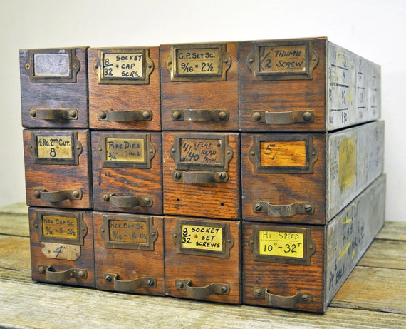 Lot of 12 Antique Hardware Cabinet Drawer Industrial Wood and Galvanized Metal
