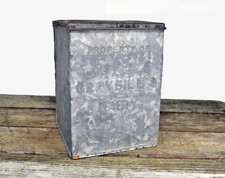 vintage antique dairy porch milk box galvanized. Black Bedroom Furniture Sets. Home Design Ideas