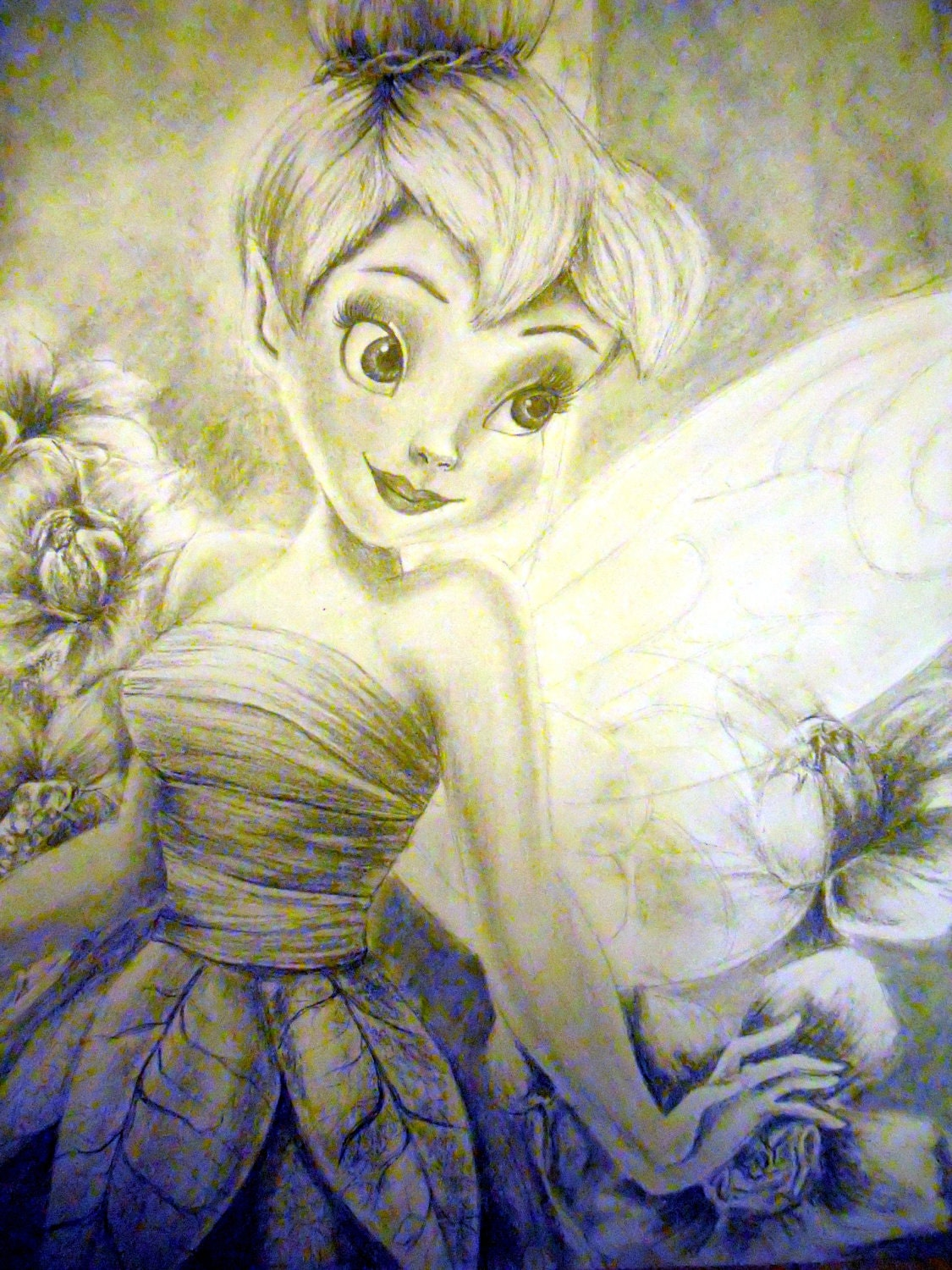 Drawing Of Tinkerbell With Flowers In Pencil And Charcoal