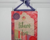 Future Diva childrens wall tile art plaque, whimsical nursery or child's room wall decor