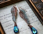 Angel Wing Earrings -OCEAN ANGEL- copper and Swarovski wire wrapped patina angel wing earrings