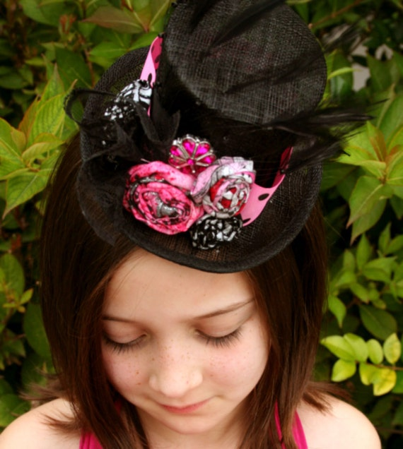 BIRTHDAY GIRL mini top hat in pink and black for vintage photo shoot, or birthday party, ready to ship with free lace warmers