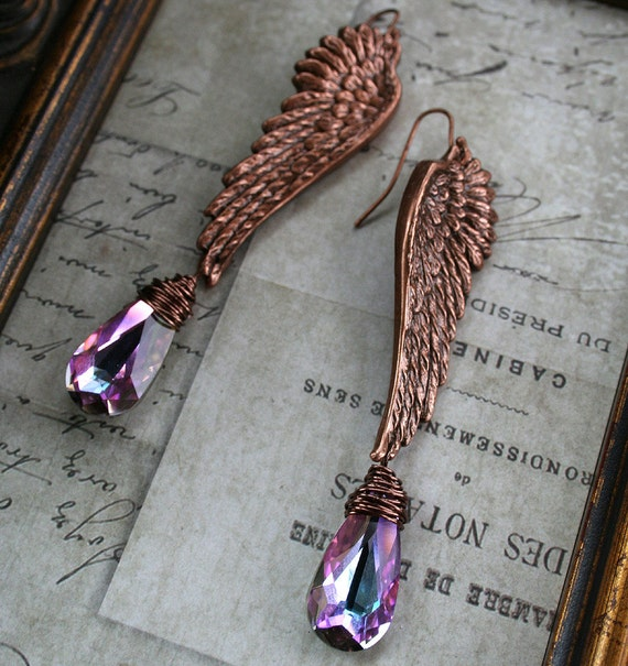 From the Gilded Dragonfly -SERAPHIM- copper and Swarovski wire wrapped angel wing earrings