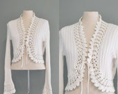 So Sweet ---vintage 1960s cardigan / Vanilla knitted-crochet sweater