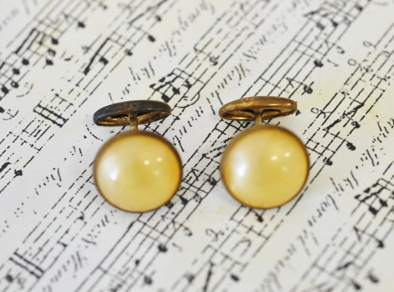 1950s vintage Cufflinks- Vintage antique Gold and Agate Cuff links