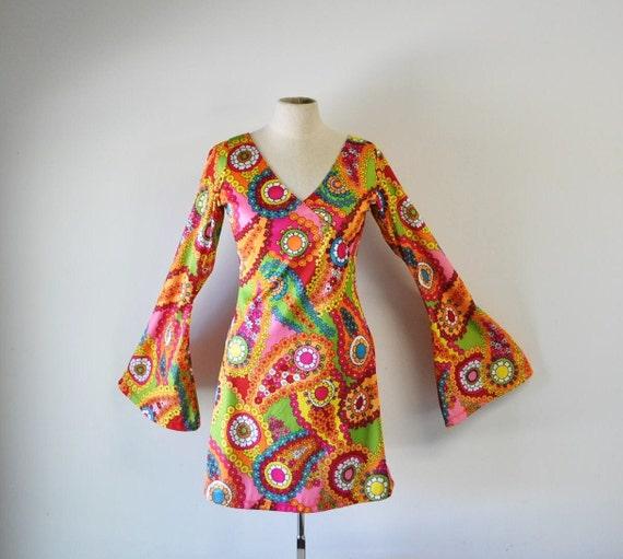 1960s flower power hippie mini dress--treasury item