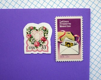 Valentine Memories - Vintage unused postage stamps to post 5 letters or use in your crafting projects
