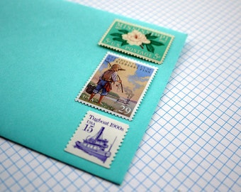Vintage un-used - On the Mississippi with Huck Finn - postage stamps to post 5 letters or use in your crafting projects