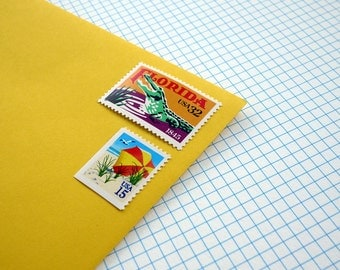 Vintage un-used - Florida Beach Vacation - postage stamps to post 5 letters or use in craft projects