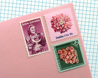 Pink Babe - Vintage unused postage stamps to post 5 letters