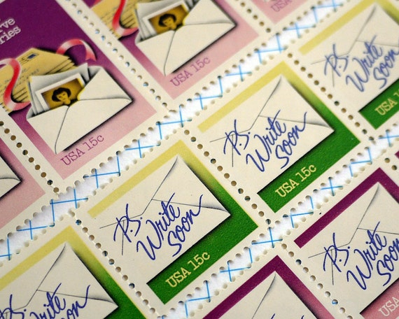 Vintage unused Letters Preserve Memories - p.s. Write Soon - postage stamps to post 5 letters